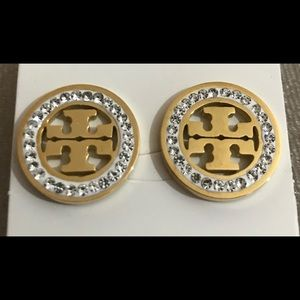 Tory Burch Gold Rhinestone Earrings